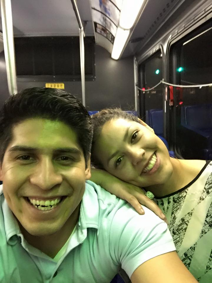 Rey Saldaña date night selfie on a VIA bus. Source: Rey Saldaña Facebook