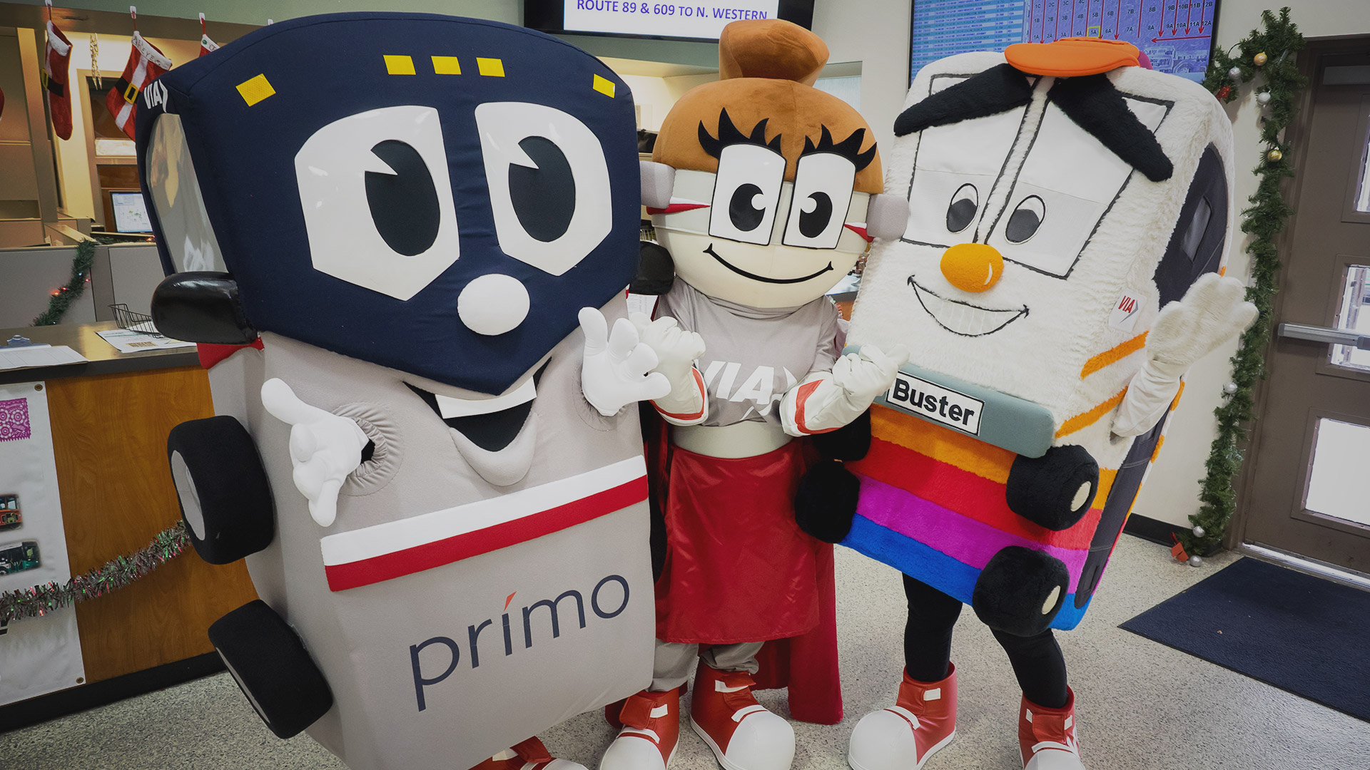 VIA Metropolitan Mascot Family, Prímo, Safety Sophie, and Buster the Bus (left to right). Source: VIA