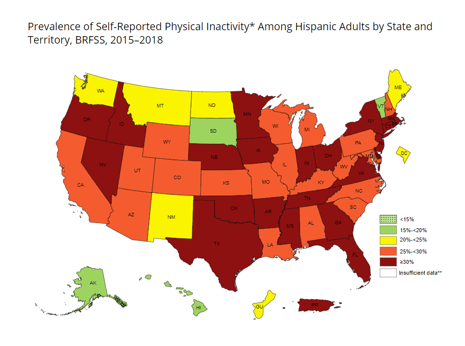 Self-Reported Physical Inactivity Among US Latino Adults by State and Territory