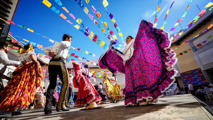 Photo of folklore dancers dancing in Mexico. Mexican culture and traditions.